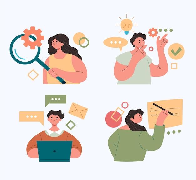 Mensen kantoorpersoneel karakters die online via internet werken