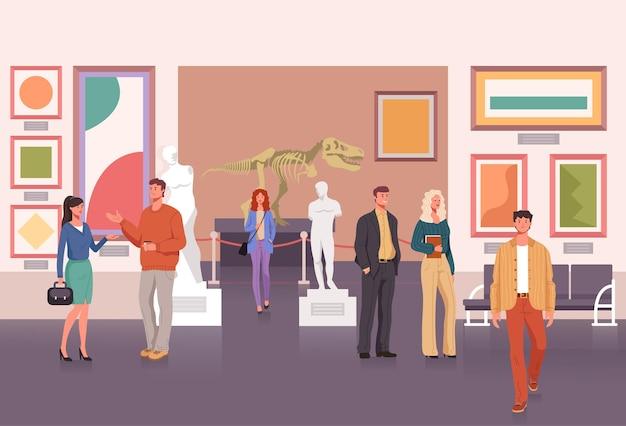 Mensen karakter bezoeken museum.
