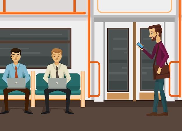 Mensen karakters met laptop en smartphone in de metro van de trein