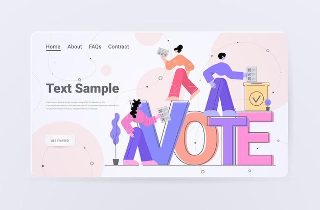 Mensen kiezers die beslissingen nemen en papieren stemmen op de bestemmingspagina van de stembus zetten
