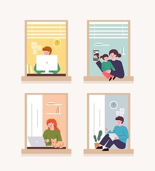 Mensen kijken door het raam. in het geval van een coronavirus zijn mensen thuis geïsoleerd. thuis telewerken.