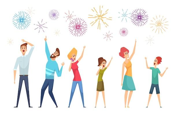 Mensen kijken groet. feestelijk vuurwerk en blije menigte volwassenen en kinderen. geïsoleerde cartoon vrouw man en pyrotechnische show vectorillustratie. vuurwerkvakantie, festivalviering gekleurd