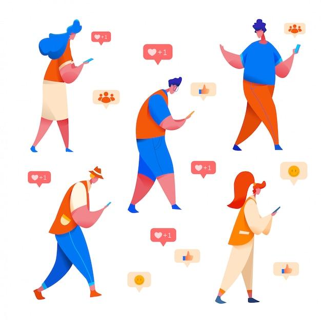 Mensen kijken naar de telefoon met emoji, glimlachen en s.