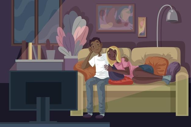 Mensen kijken naar een film thuis