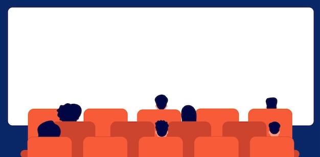 Mensen kijken naar film. bioscooppubliek, tekenfilmpersoon die achterover leunt. man vrouw in theater en leeg scherm, menigte achter vectorillustratie. theaterentertainment, bioscooppremièrefilm