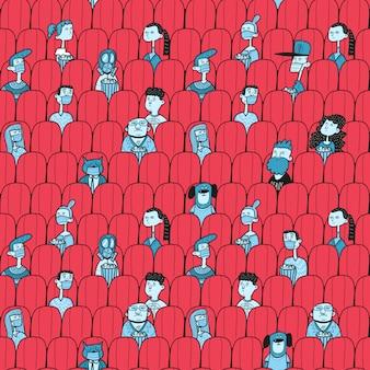 Mensen kijken naar film in bioscoopzaal. sociale afstand na covid-19