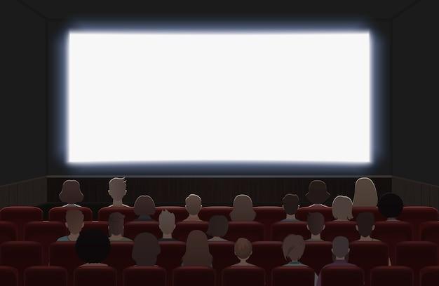 Mensen kijken naar film in de bioscoopzaal interieur illustratie. achteraanzicht