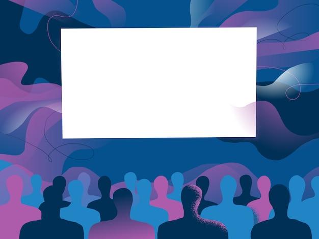 Mensen kijken naar iets dat op het grote scherm voor hen wordt geprojecteerd