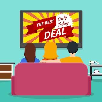 Mensen kijken naar reclametelevisie. scherm- en mediatechnologie-communicatie. vector platte illustratie