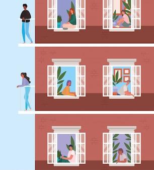 Mensen kijken uit de ramen met balkons van bruin gebouw ontwerp