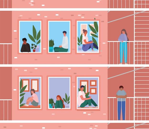 Mensen kijken uit de ramen met balkons van roze gebouw ontwerp