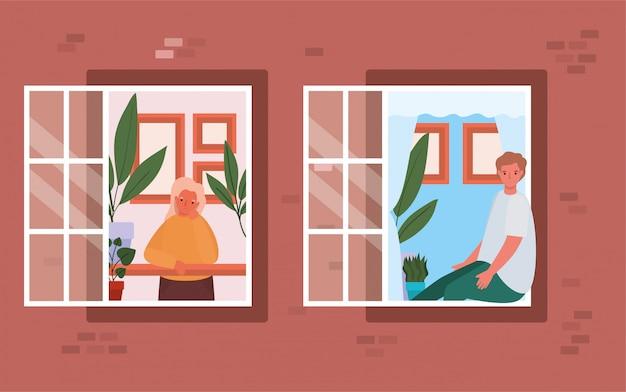 Mensen kijken uit de ramen van bruin huis ontwerp