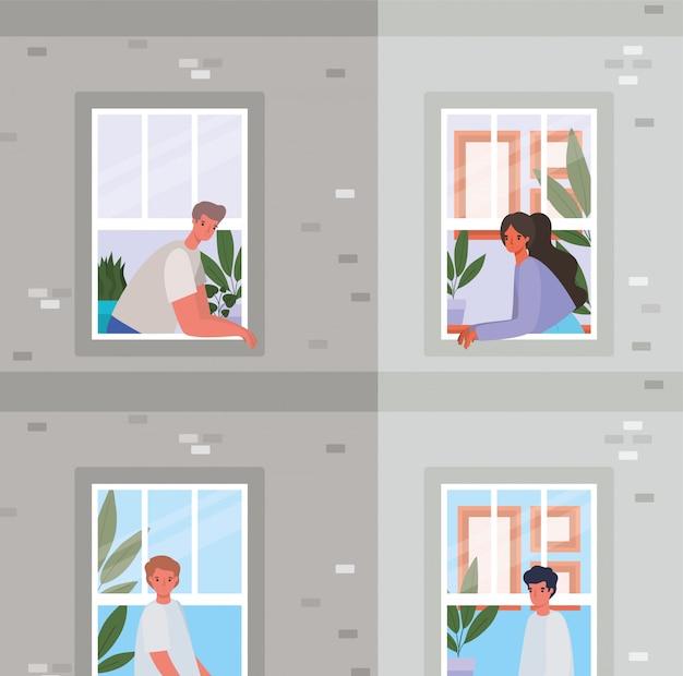 Mensen kijken uit de ramen van grijs gebouw ontwerp