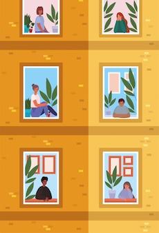 Mensen kijken uit de ramen van oranje gebouw ontwerp