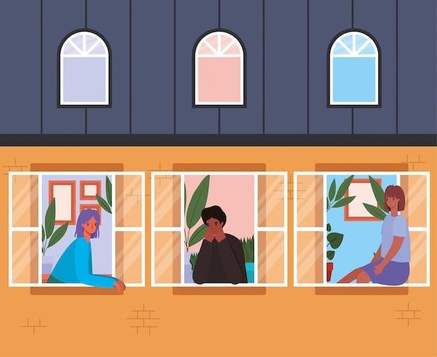 Mensen kijken uit de ramen van oranje huisontwerp