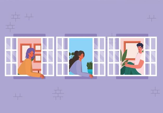 Mensen kijken uit de ramen van paars huisontwerp