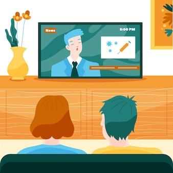Mensen kijken vanuit huis naar het nieuws