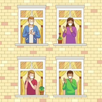 Mensen klappen op balkons