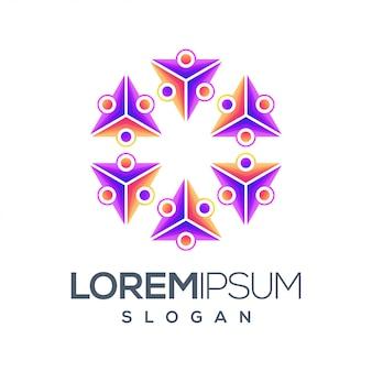 Mensen kleurverloop logo ontwerp