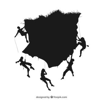 Mensen klimmen berg vector silhouetten