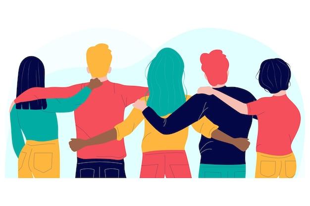 Mensen knuffelen plat ontwerp