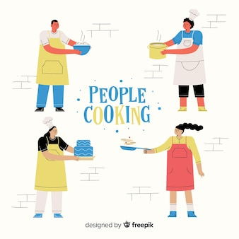 Mensen koken collectie