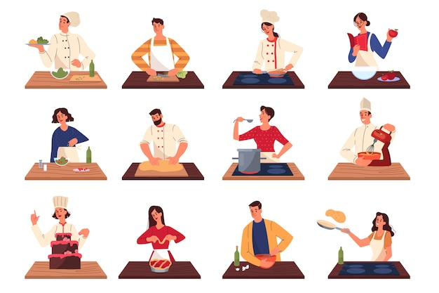 Mensen koken en bereiden van voedsel. restaurant chef-kok koken collectie van man en vrouw in schort smakelijke schotel maken. professionele werker in de keuken. illustratie
