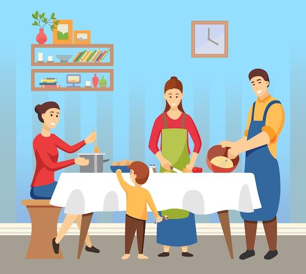 Mensen koken gerechten familie voorbereiding op vakantie