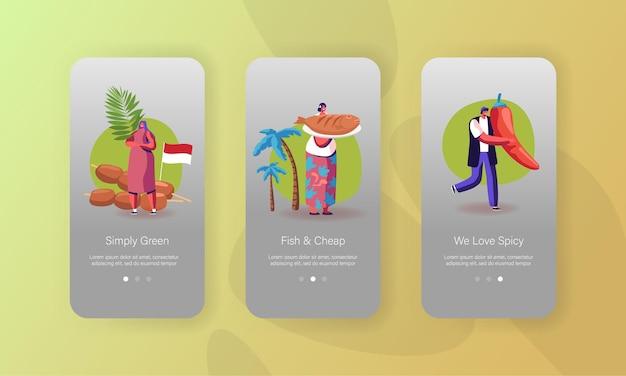 Mensen koken hete pittige gerechten mobiele app-pagina onboard-schermsjabloon.
