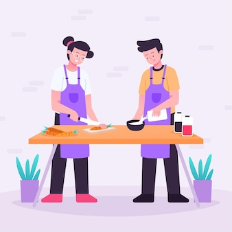 Mensen koken illustratie pack