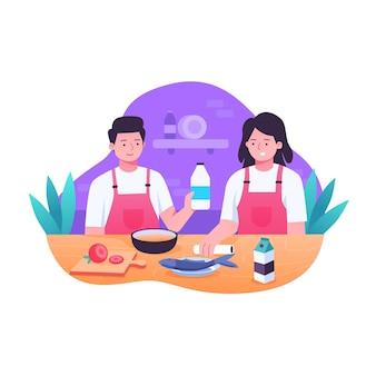 Mensen koken illustratie set