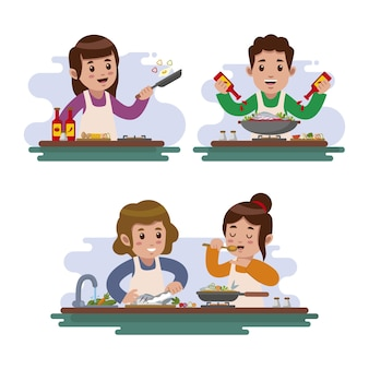 Mensen koken illustratie