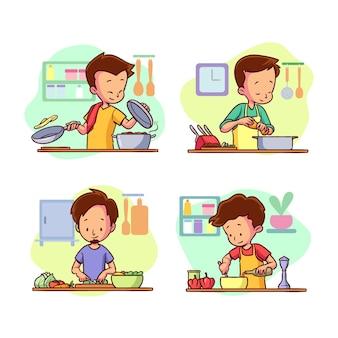 Mensen koken pack