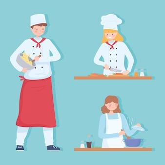 Mensen koken thuis, restaurant keuken chef-koks stripfiguur