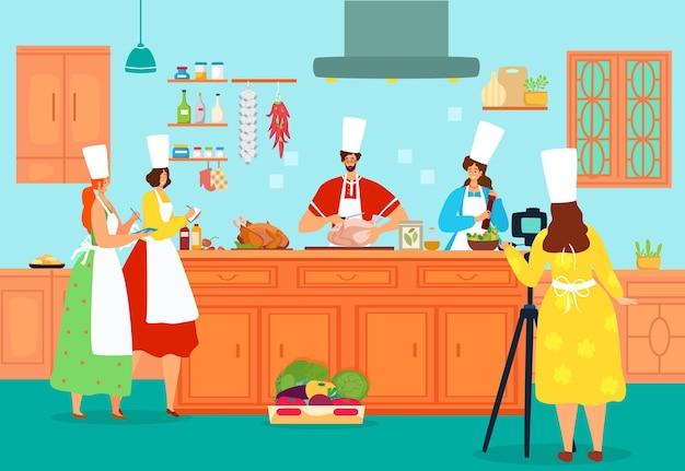 Mensen koken voedsel bij keukenillustratie