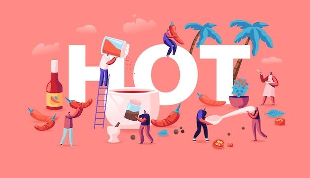 Mensen koken voedsel met hot chili concept. cartoon vlakke afbeelding