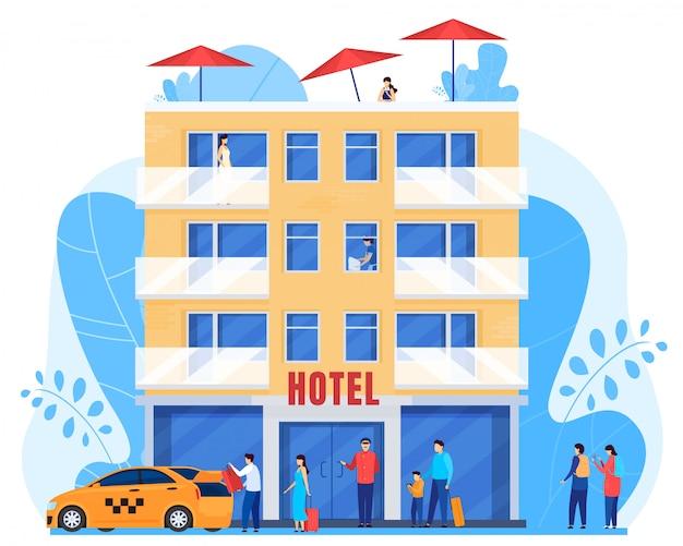 Mensen komen aan bij hotel, mannen en vrouwen met bagage, illustratie