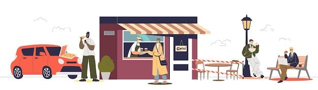 Mensen kopen afhaalmaaltijden en dranken in café voor covid-bescherming en preventie. stripfiguren bestellen en eten maaltijd om te gaan. platte vectorillustratie