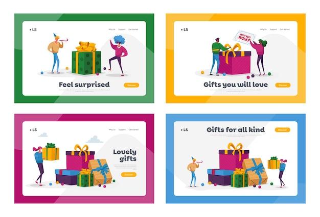 Mensen kopen cadeaus voor familie en vrienden op vakantie landingspagina sjabloon set. vrolijke karakters dragen verpakte geschenkdozen in enorme stapel cadeaus bereid je voor op kerstmis. tekenfilm