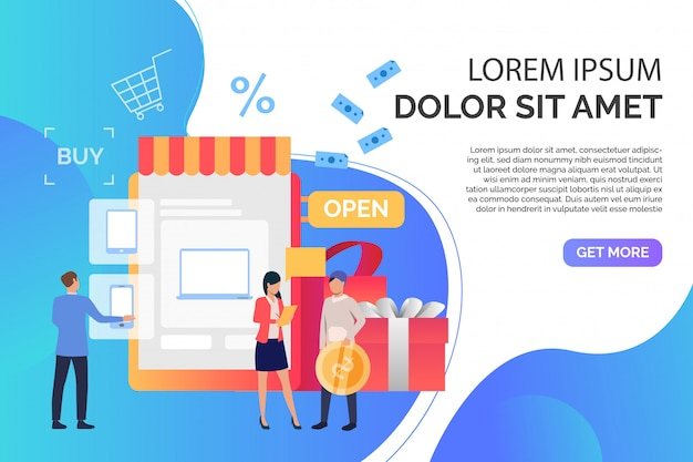 Mensen kopen gadgets in online winkel met voorbeeldtekst