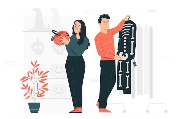 Mensen kopen halloween spullen concept illustratie