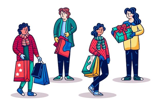 Mensen kopen kerstcadeaus