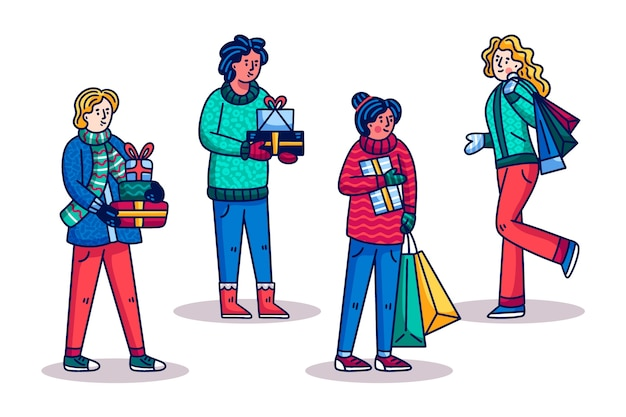 Mensen kopen kerstcadeautjes