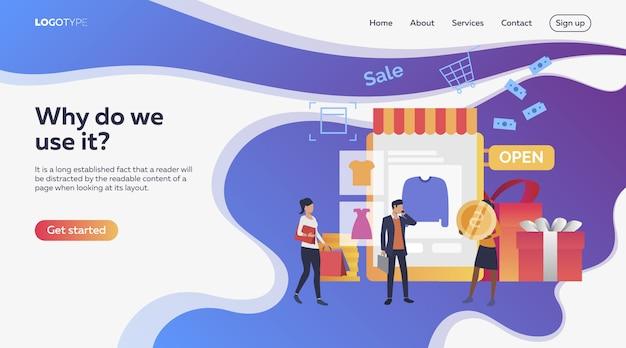 Mensen kopen kleding in online shop