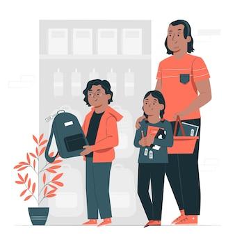 Mensen kopen schoolbenodigdheden concept illustratie