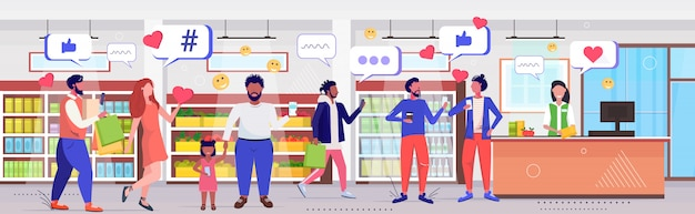 Mensen kopen van boodschappen klanten met behulp van online mobiele app sociale media netwerk communicatie digitale verslaving concept moderne supermarkt interieur schets volledige lengte horizontale vectorillustratie