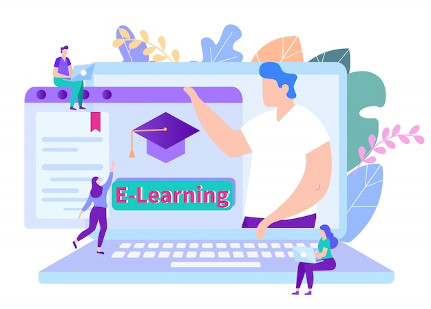 Mensen krijgen online onderwijs. docent op monitor. afstand leren. online les. e-learning