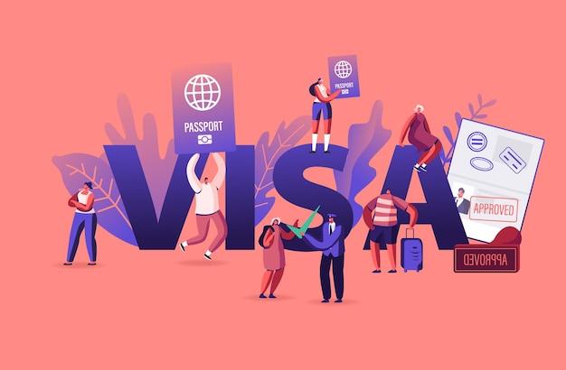 Mensen krijgen visa concept. cartoon vlakke afbeelding