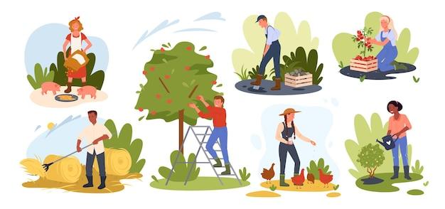 Mensen landbouw illustratie set.