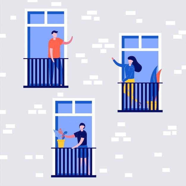 Mensen leefgedrag, buurtconcept. mensen staan op balkons en kijken uit ramen.